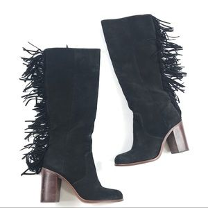 Gianni Bini Back Drop Leather Fringe Knee Boots